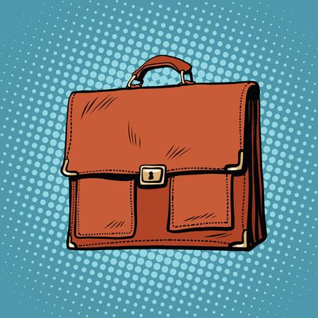 gold buckle: Realistic stylish leather business portfolio bag pop art retro comic drawing illustration