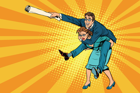 inequality: Business people man riding on woman, attack, pop art retro comic drawing illustration. Gender inequality. Career men and women Illustration
