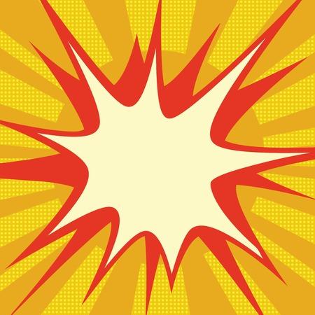 Rode komische explosie over oranje retro de tekeningsillustratie van de zonpop-art