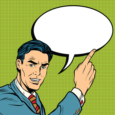 advertising businessman pointing finger pop art retro comic drawing illustration Stock Vector - 62072655