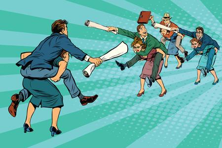 Business battle gender inequality pop art retro comic drawing illustration