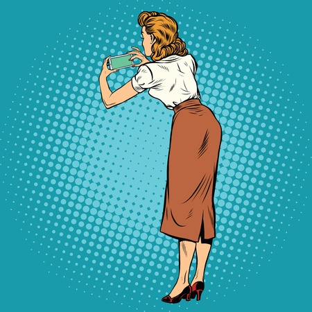 Woman back photographed on a smartphone, pop art retro comic drawing illustration.