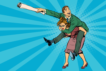 Business people man riding on woman, attack, pop art retro comic drawing illustration. Gender inequality. Career men and women Vettoriali