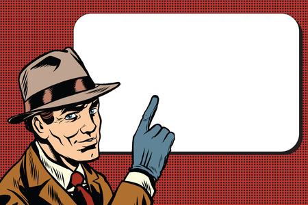 Male spy points a finger, retro background pop art comic drawing illustration