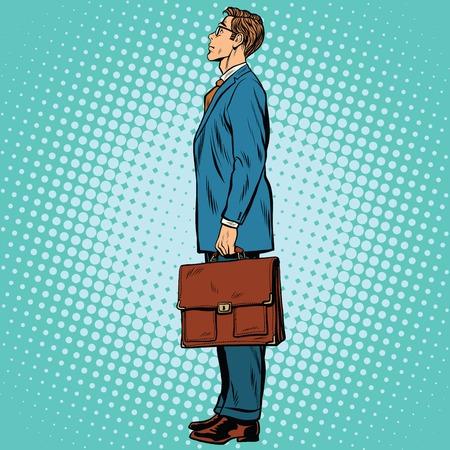 side profile: Businessman standing sideways pop art retro comic drawing illustration Illustration