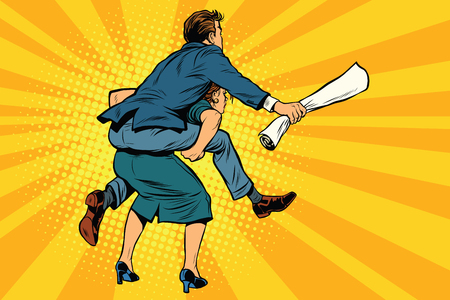 inequality: Business people back man riding on woman, attack, pop art retro comic drawing illustration. Gender inequality. Career men and women