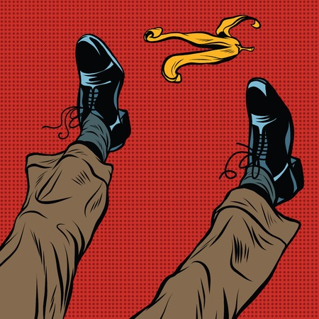 trash danger: Slipping on the banana pop art retro comic drawing illustration. Men boots and a yellow banana peel