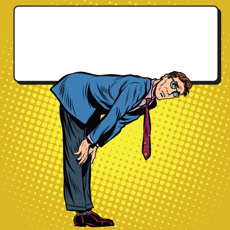 heaviness: Retro businessman bent under the Billboard, pop art retro illustration realistic drawing Illustration