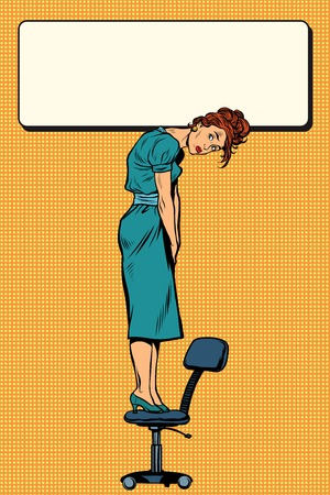 heaviness: Businesswoman standing on a chair holding the sign, pop art retro illustration realistic drawing