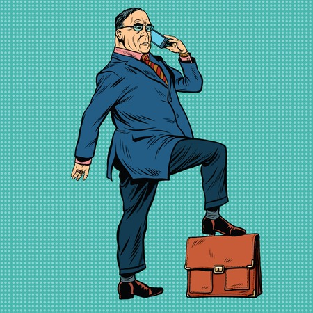 old style: Boss business people, pop art retro illustration realistic drawing. A businessman puts his foot on the briefcase. Talking on the phone