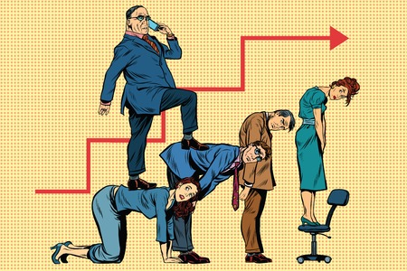 trade union: Boss business career on the backs of workers, pop art retro illustration realistic drawing