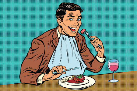 wine and food: Elegant retro man eats in the restaurant and drinking wine, pop art retro comic book illustration