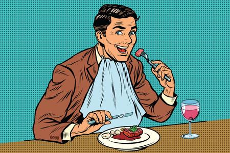 Hombre retro elegante come en el restaurante y beber vino, el arte pop retro ilustración de libros de historietas Ilustración de vector