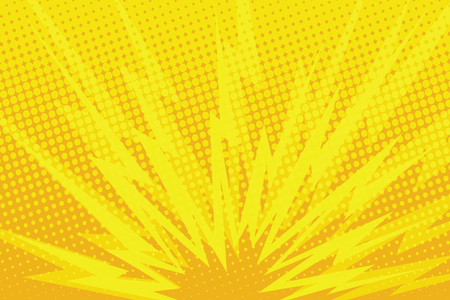 Yellow cartoon blast background pop art retro comic book illustration Vectores