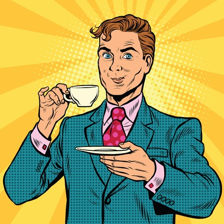 Retro businessman drinking tea, pop art comic book illustration. Business man in cafe