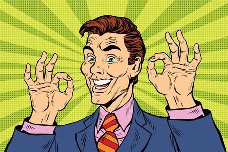 okay: Smiling man gesture okay, pop art retro comic book illustration