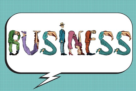 business letters: Business word letters people, pop art retro comic book illustration. Figures of people gathered in the name
