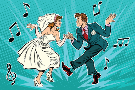 rockabilly: dancing bride and groom, pop art retro comic book illustration. Wedding dance. Twist, rock and partner dance