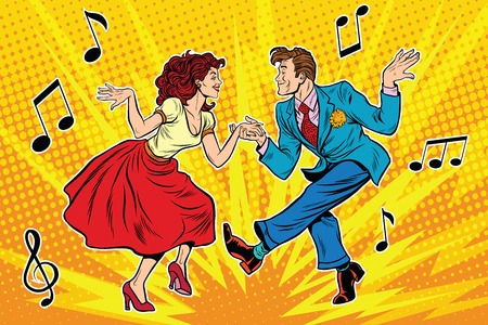 couple man and woman dancing, vintage dance, pop art retro comic book illustration Çizim