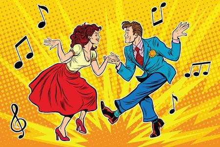 historietas: Pareja hombre y una mujer bailando, danza vintage, arte pop retro ilustración de cómics Vectores