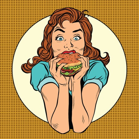 rich flavor: Young woman eating Burger, pop art retro comic book illustration. Restaurants and fast food