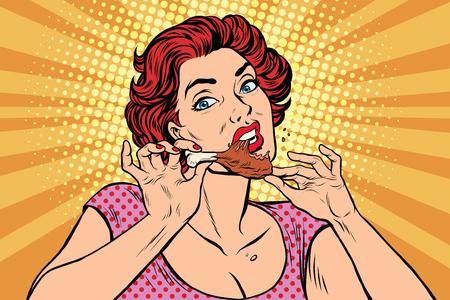 Donna che mangia una coscia di pollo, pop art retrò fumetto illustrazione. Ristorante e fast food, cibo fatto in casa