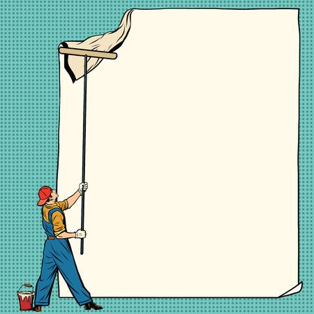 worker painter sticks white poster, pop art retro vector illustration. Ad Billboard