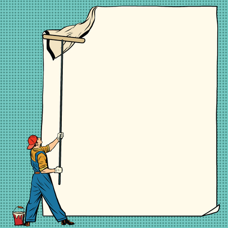 worker painter sticks white poster, pop art retro vector illustration. Ad Billboard