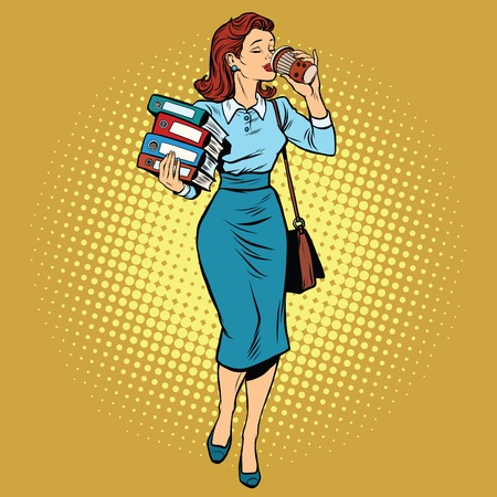 Business woman drinking coffee on the go, pop art retro vector illustration. Businesswoman with reports and documents
