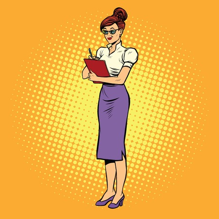 the businesswoman: Young woman Secretary writes, pop art retro vector illustration. Businesswoman at work