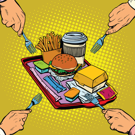 hearty: Full tray of fast food, pop art retro vector illustration. Hunger and appetite