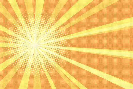 Sunrise, pop art retro vector illustration. Yellow rays on orange background