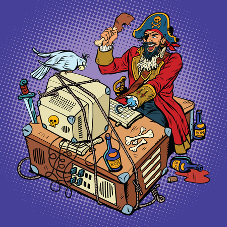 sea robber: Software piracy, the hacker captain, pop art retro vector illustration. The man in the coat, with a parrot, working at a computer Illustration