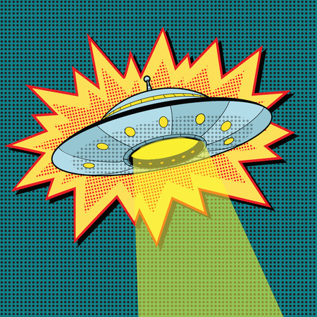 Pop art UFO with light beam, retro vector illustration