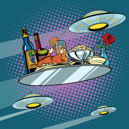 Flying a dinner tray and UFO, pop art retro vector illustration. Delicious food. Science fiction Ilustração