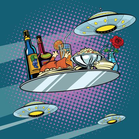 Volar una bandeja de la cena y UFO, ilustración vectorial de arte retro pop. Comida deliciosa. Ciencia ficción