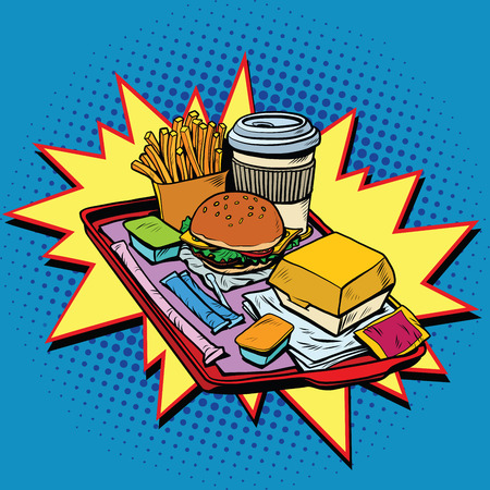 hearty: Fast food dinner, pop art retro vector illustration. Burger, fries and hot drink