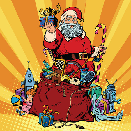 claus: Santa Claus with bag of gifts. Christmas and New year, pop art retro vector illustration