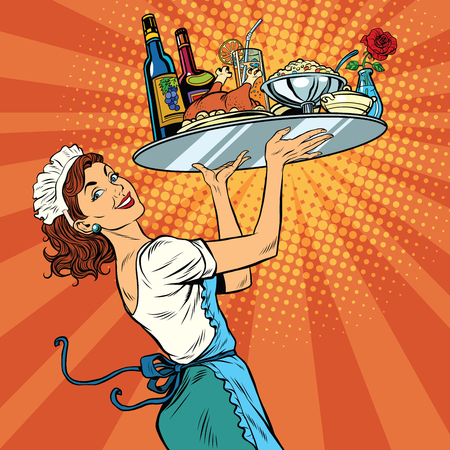 christmas drink: Beautiful young woman waitress in a restaurant, pop art retro vector illustration. Tray holiday dinner