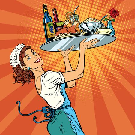 Bella giovane donna cameriera in un ristorante, la pop art retrò illustrazione vettoriale. cena vacanze vassoio Vettoriali