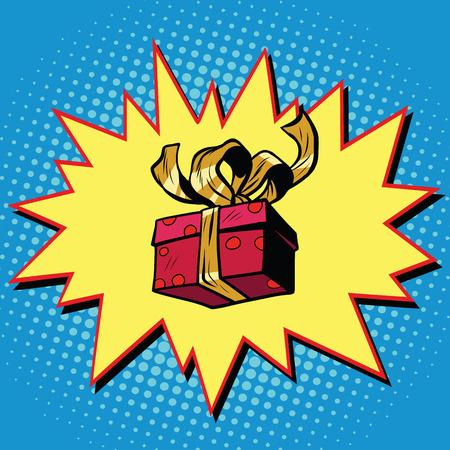 surprise box: Christmas or Valentine gift box, pop art retro vector illustration. Surprise celebration or birthday