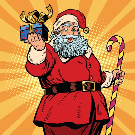 oldman: Santa Claus with a gift, Christmas and new year. pop art retro vector illustration. Fairy tale character