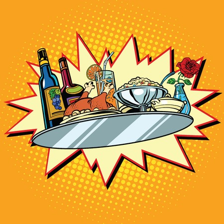 holiday food: Large food tray with wine and dinner, pop art retro vector illustration. Food and service. Holiday celebration
