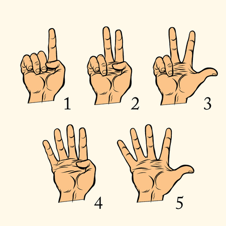 Set of hand gestures count 1 2 3 4 and 5, pop art retro vector illustration. One two three four five Çizim