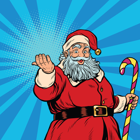 oldman: Santa Claus with gift, pop art retro vector illustration. Christmas background Illustration