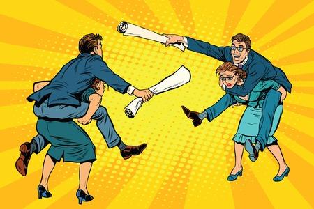 business team: Business people office battle, men riding women, pop art retro vector illustration. Gender inequality