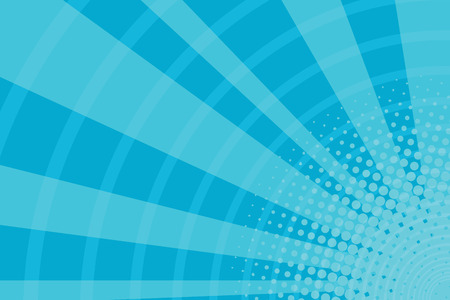 Blue cartoon light rays pop art retro background, vector illustration