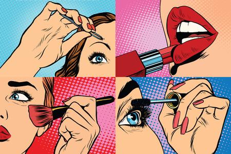 Set van make-up en cosmetische schoonheid vrouw, pop art retro vector illustratie. Lippen, ogen, wenkbrauwen en de huid Stock Illustratie