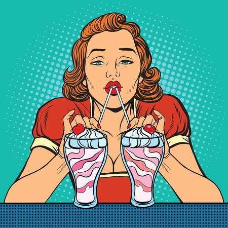 Woman drinking milkshake ice cream, pop art retro vector illustration. Drinks and desserts Imagens - 64068340