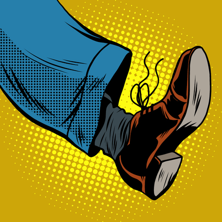 movement: Human foot with Shoe, pop art retro vector illustration, take a step Illustration